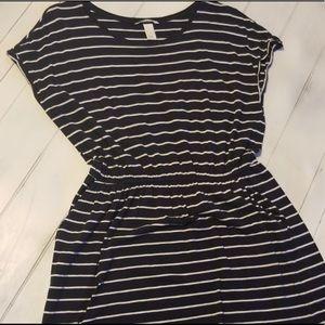 Adorable Deep Dark Blue & White Striped Dress!